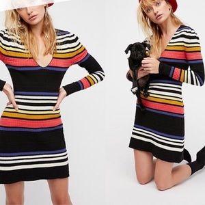 Free People Rainbow Ribbed Dress NWT